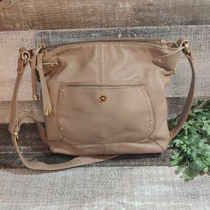 Taupe leather Stone mountain crossbody bag